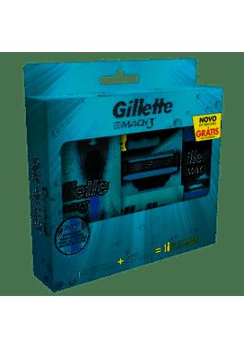Aparelho-de-Barbear-Gillette-Mach3-Acqua-Grip-2-Cargas-Gel-de-Barbear-Gillette-Mach3-Complete-Defense72ml