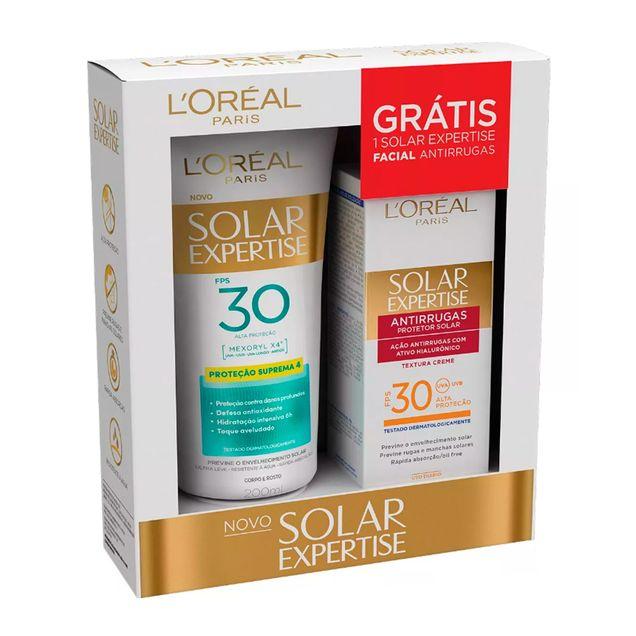 Protetor-Solar-L-oreal-Expertise-FPS30-200ml-Protetor-Solar-Facial-L-oreal-Expertise-Antirrugas-FPS30-25g-Gratis