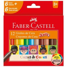 Giz-de-Cera-Faber-Castell-Jumbo-Caras---Cores-12-Cores